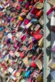 Love padlocks on the Hohenzollern Bridge in Cologne. Detail view of love padlocks on the Hohenzollern Bridge in Cologne, Germany Stock Image