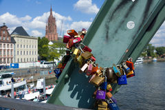 Love Padlocks at Iron Bridge Frankfurt Royalty Free Stock Images