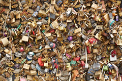 Love padlocks in Paris background Royalty Free Stock Photo