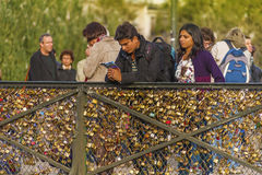 Love padlocks on Paris bridge Stock Photos