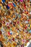 Love padlocks on parisian bridge Stock Photography