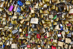 Love padlocks of the Pont des Arts bridge. Royalty Free Stock Photo