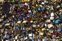 Love Padlocks on the Pont Des Arts in Paris Stock Photography