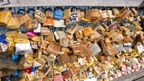 Love padlocks on the Pont des Arts. Paris. France. Royalty Free Stock Image
