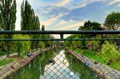 Love padlocks. On river Bega Bridge, Timisoara, Romania Royalty Free Stock Photo
