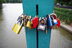 Love padlocks in Wroclaw Stock Images