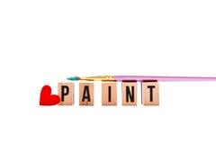 Love Paint - blocks and brush stock photo