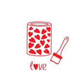 Love paint with hearts inside. Card Royalty Free Stock Image