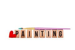 Love Painting - blocks and brush royalty free stock photography