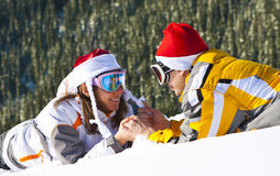 Love pair on ski vacation Stock Images
