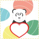 Love panda with the heart on a background. vector Royalty Free Stock Images