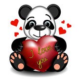 Love Panda with heart Stock Photography