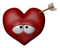 Love pangs. Cartoon heart with arrow - 3d illustration Stock Photos