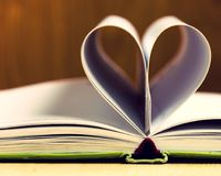 Love paper heart is made from the book`s pages empty pages of life. Abstract background beautiful book concept design heart love open page paper romance romantic stock image