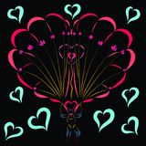 In love parachutist, flowers and hearts.  Stock Photography