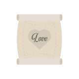 Love parchment message heart Stock Photos