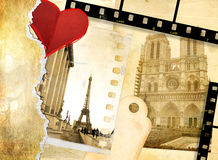 Love paris. Romantic background - Memories about Paris - from my old album series Stock Images
