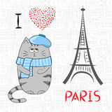 Love in Paris doodle vector illustration with cute cat. Royalty Free Stock Image