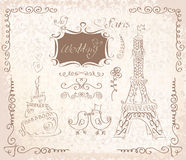 Love in Paris doodles Royalty Free Stock Images