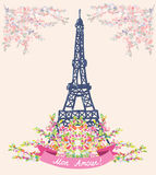 Love in Paris nice card - vintage floral design Royalty Free Stock Photo