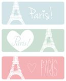 Love Paris pastel vector banner set. With Eiffel Tower and hearts royalty free illustration