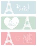 Love Paris pastel vector banner set Stock Photography