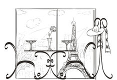 Love in Paris. Sketch Stock Photo