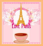 Love Paris with tower Eiffel and coffee over pink background. Stock Photos