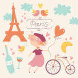In love with Paris vector set Royalty Free Stock Photos
