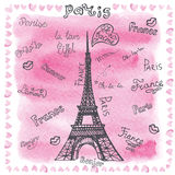 Love in Paris.Watercolor decor,lettering Royalty Free Stock Photo