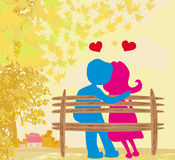 Love in the park, autumn landscape Royalty Free Stock Photo