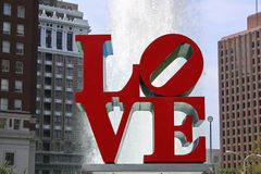 Love Park, Philadelphia. The LOVE statue in JFK Plaza, known as Love Park, in Philadelphia royalty free stock photo