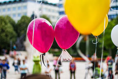 Love Party balloons with bokeh background. Colorful party balloons. Party, celebration background concept stock photo