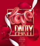 Love party invitation banner with realistic rose petals and golden frame. Vector illustration stock illustration
