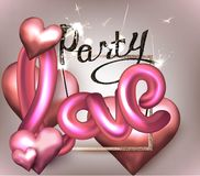 Love party invitation card with hearts, gold frame, sparkler and letters. Vector illustration Stock Photography