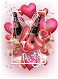 Love party invitation card with hearts, serpentine, bottles and glasses and letters. Vector illustration Stock Photo