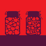 Love and passion. Allegorical illustration of love and passion as hearts canned in glass jars stock illustration