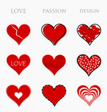 Love, passion and design hearts. Collection of red hearts. Love, passion and design - vector illustration Royalty Free Stock Photography