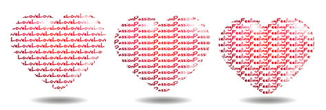 Love, Passion and Feeling. Background with big red hearts and text Royalty Free Stock Image