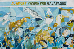 Love and Passion for Galapagos. Mural Artwork in Puerto Ayora in Royalty Free Stock Photography