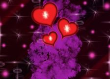 Hearts that symbolize love. Love, passion, hope, all are found here in a glowing background image stock illustration