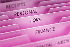 Love Past. Files with love the main focus of the image and a pink tone Royalty Free Stock Photo