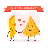 Love between pasta and cheese. Valentines day card. Love between pasta and cheese. Cute comic characters. Vector cartoon Royalty Free Stock Photography