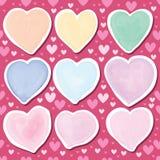 Love pastel watercolor set seamless pattern Stock Photos