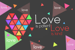 Love is Patient Love is Kind. Dark background Royalty Free Stock Image