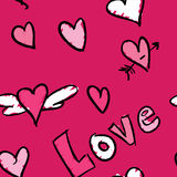Love Pattern. A pink seamless pattern with a love theme Vector Illustration