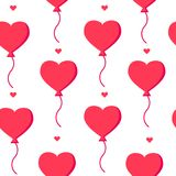 Love pattern with balloons and hearts on white background. Flat design. Vector banner Royalty Free Stock Image