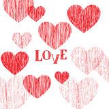 Love pattern. Happy Valentines day card. Love heart pencil sketc. H background. Valentine's day greeting card design Royalty Free Stock Photography