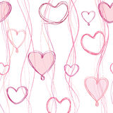 Love pattern with hearts in naive style. Royalty Free Stock Image