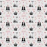 Love pattern. loving cats. Vector illustranion. St. Valentine`s Day theme royalty free illustration